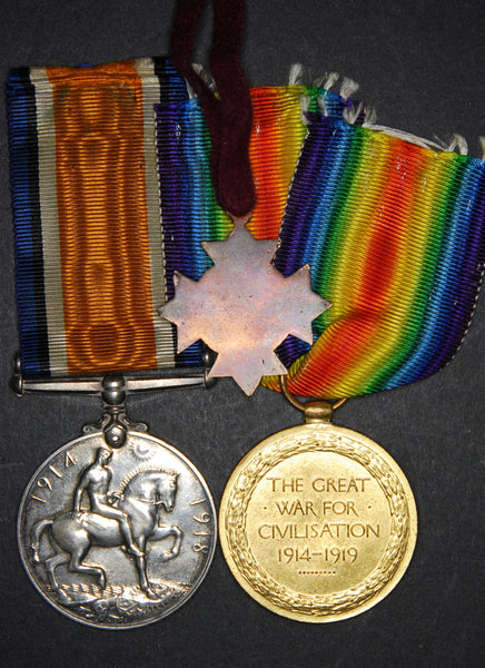 WW1 medal pair and personal ID. RAMC.