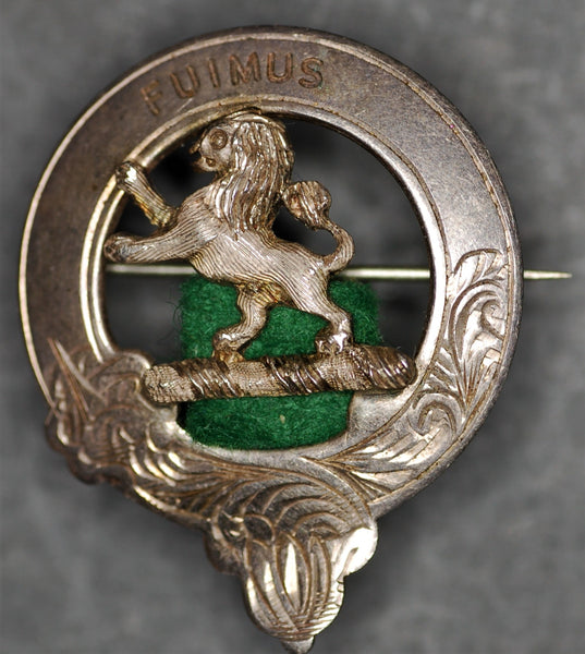 Scottish Bruce clan badge. Sterling silver.