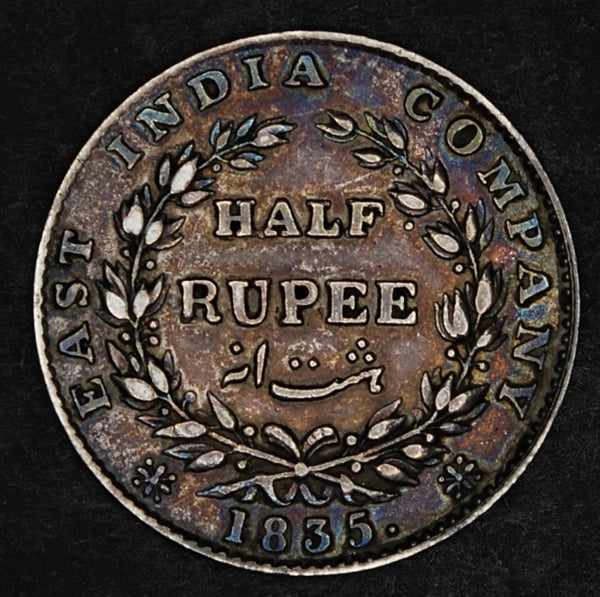 India. (East India Company) 1/2 Rupee. 1835