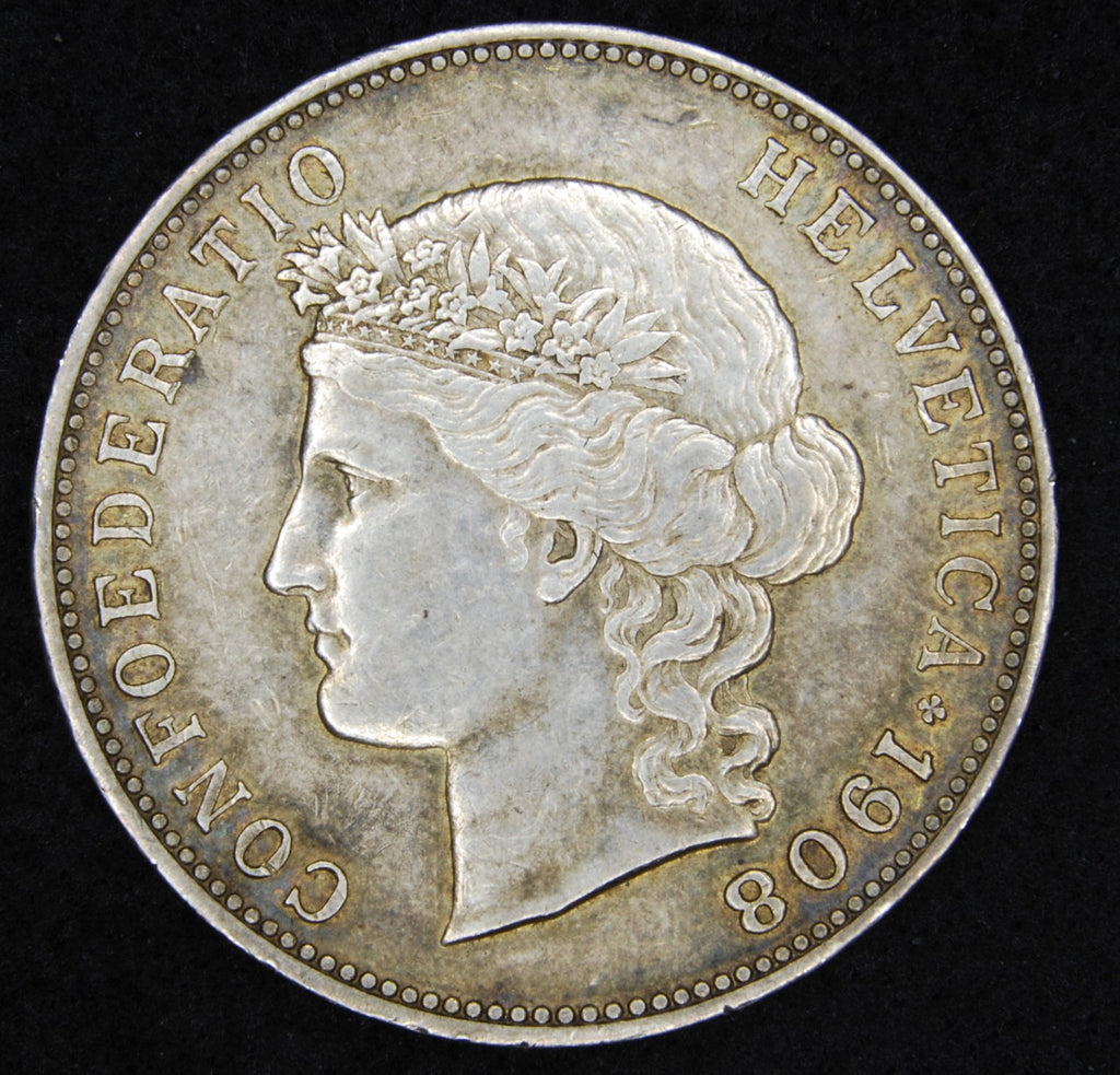 Switzerland. 5 Francs. 1908B.