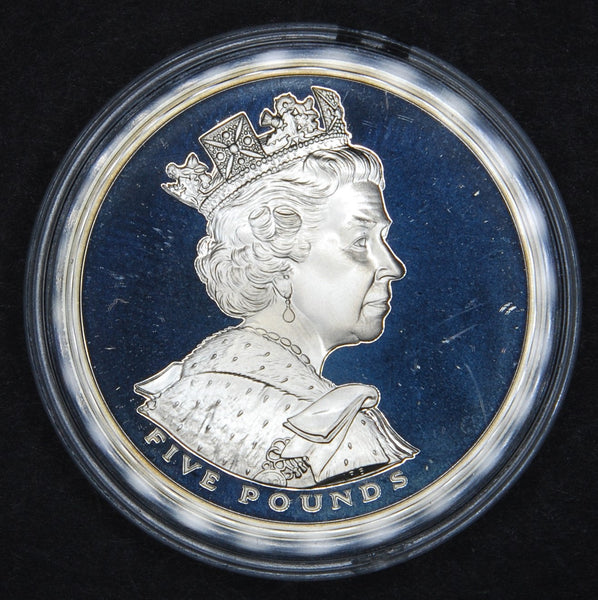 UK . Silver proof £5. 2002