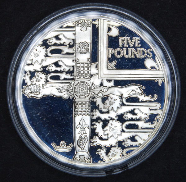 Alderney. Silver proof five pounds. 2002