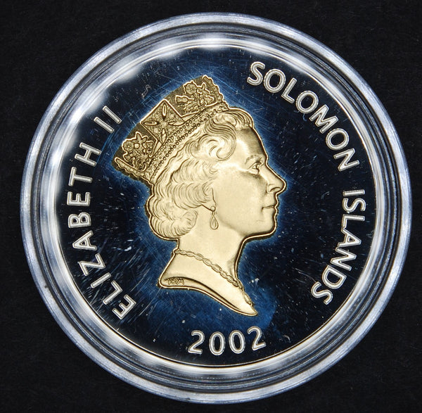 Solomon Islands. Silver proof 5 dollars. 2002.