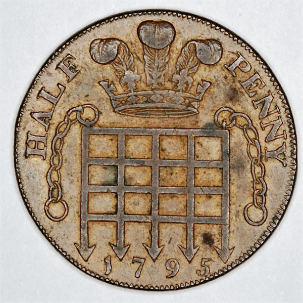 Princess of Wales London Halfpenny token. 1795