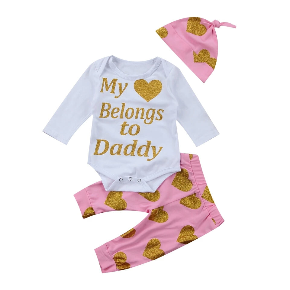 'My ❤ Belongs to Daddy' 3 Piece Set Size 3M (IN STOCK)