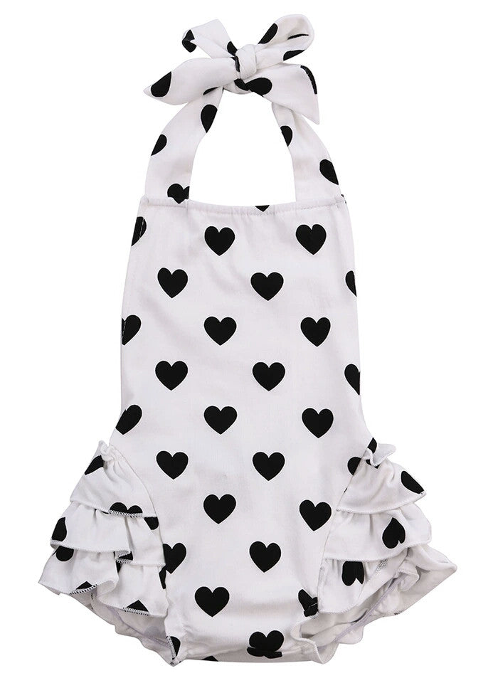 Monochrome Heart Romper with Matching Headband