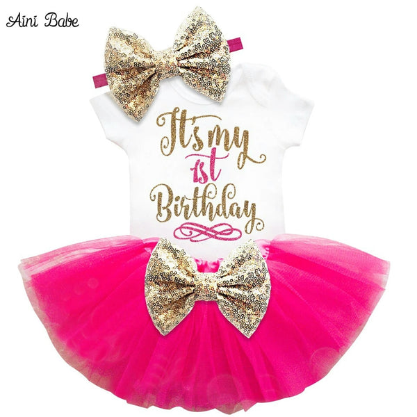 """It's My 1st Birthday"" 3 Pce Set - Hot Pink (In Stock)"