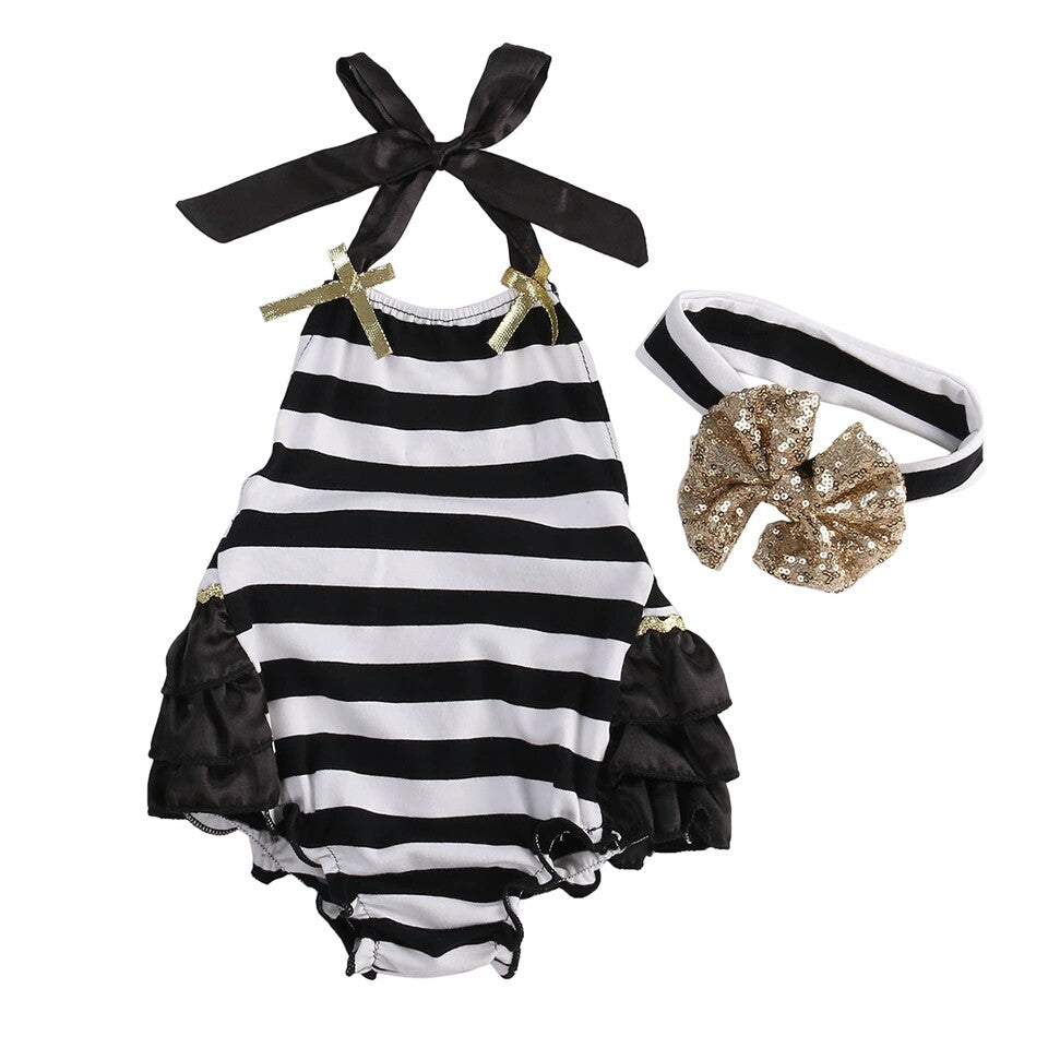 Monochrome Striped Romper with Matching Headband