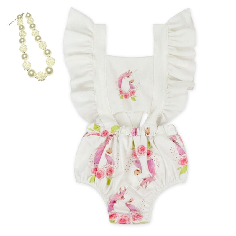 Unicorn Romper With Necklace Set