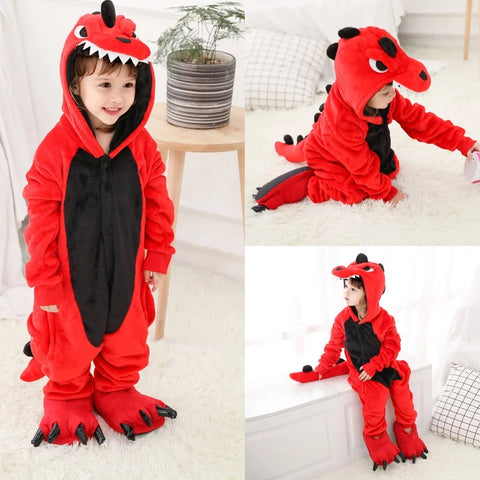 Dinosaur Red & Black Kids Onesie