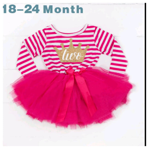 Longsleeve Birthday Tutu Dress With Crown Design (5 Colours)
