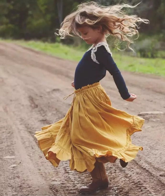 Mustard Twirly Ruffle Skirt