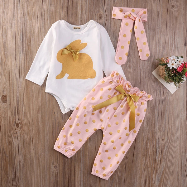Bunny Rabbit Polka Dot 3 Piece Set