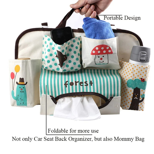 Nursery Car Seat Back Organiser (9 Designs)