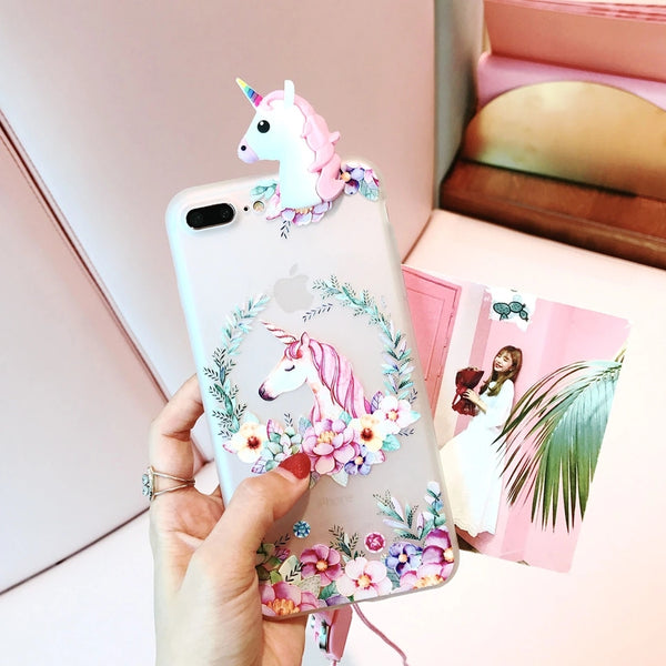 3D Unicorn Flower IPhone Sillicone Case (2 Designs)