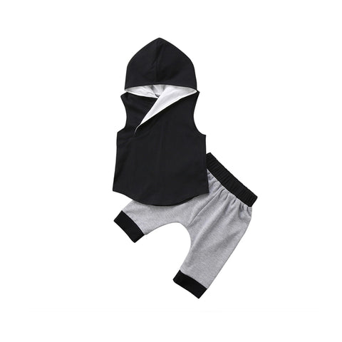 Black & Grey 2 Piece Hooded Set