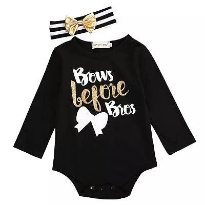 'Bows Before Bros' Bodysuit & Headband Set