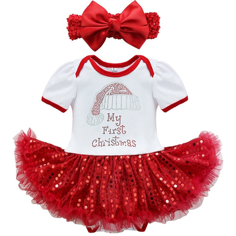 'My First Christmas' Tutu Romper Dress & Headband