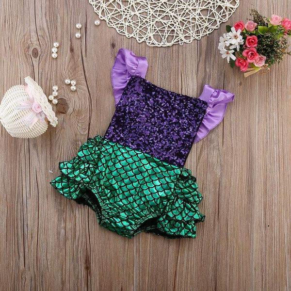 Mermaid Sparkle Ruffle Romper