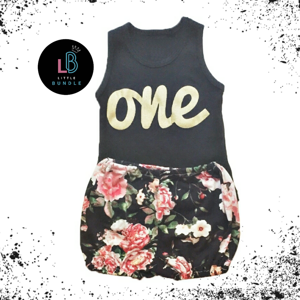'Wild One' Birthday 2 Piece Set Black Floral