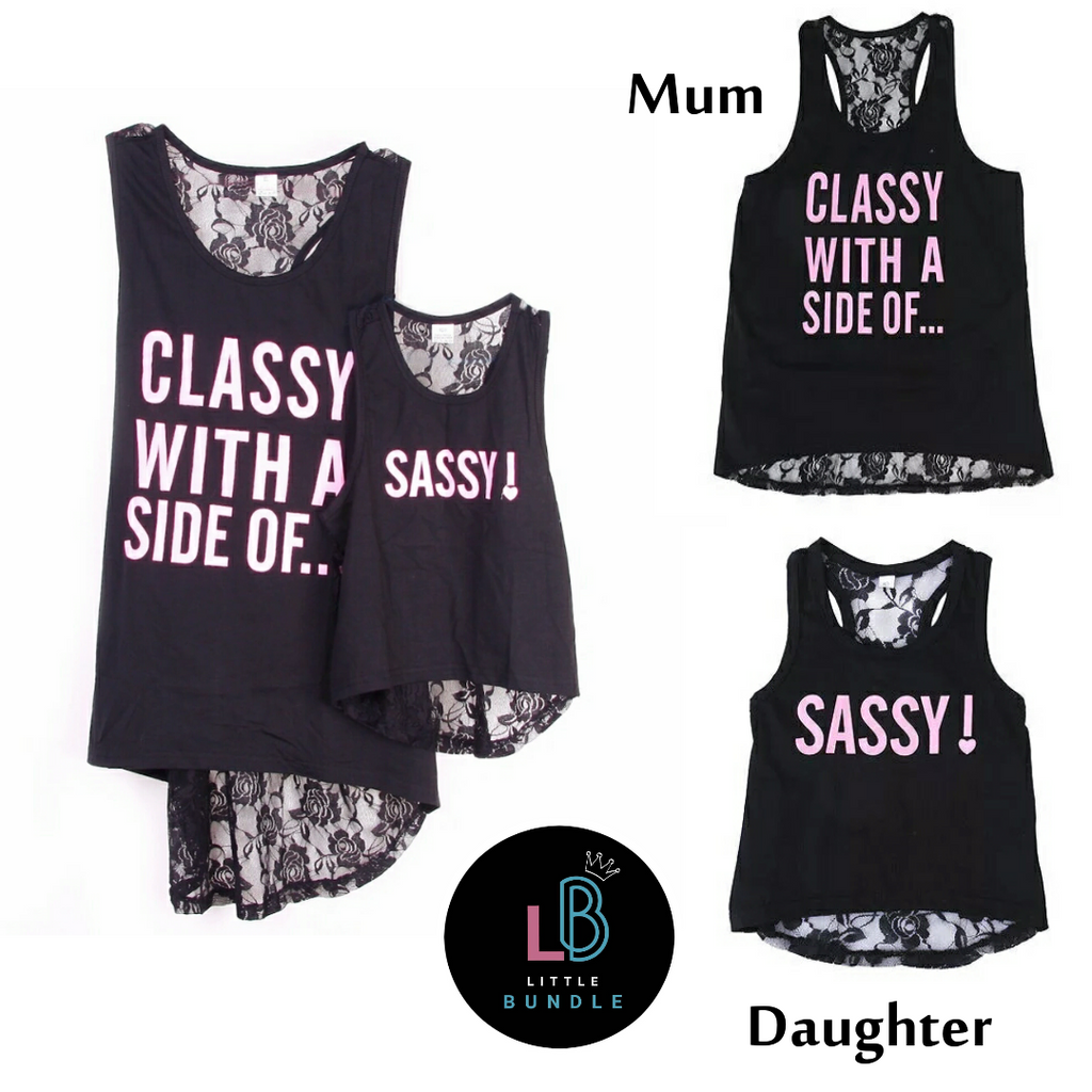 Mother & Daughter Matching Tees - Classy With A Side of... ☆ Sassy!