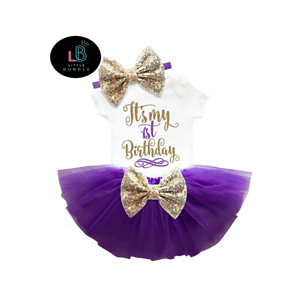 """It's My 1st Birthday"" Purple 2 Pce Set (In Stock)"