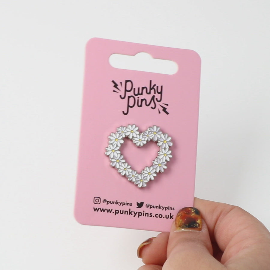 Daisy Heart Enamel Pin