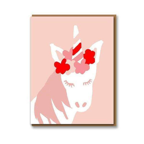 Pink Unicorn Greetings Card
