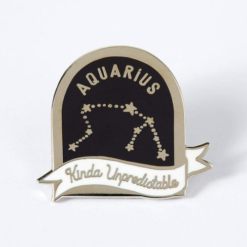 Aquarius Black and White Starsign Enamel Pin