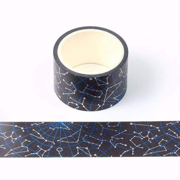 Blue and Silver Foil Constellation Wide Washi Tape