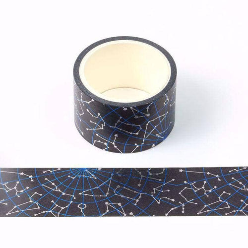 Punky Pins Blue and Silver Foil Constellation Wide Washi Tape