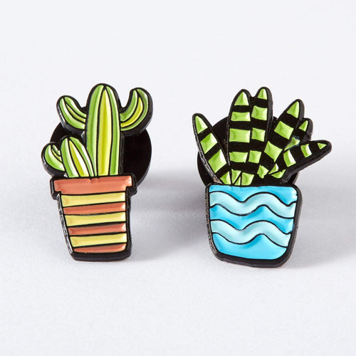 Blue & Orange Cactus Duo Enamel Pin Set
