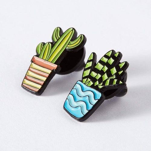Punky Pins Blue & Orange Cactus Duo Enamel Pin Set