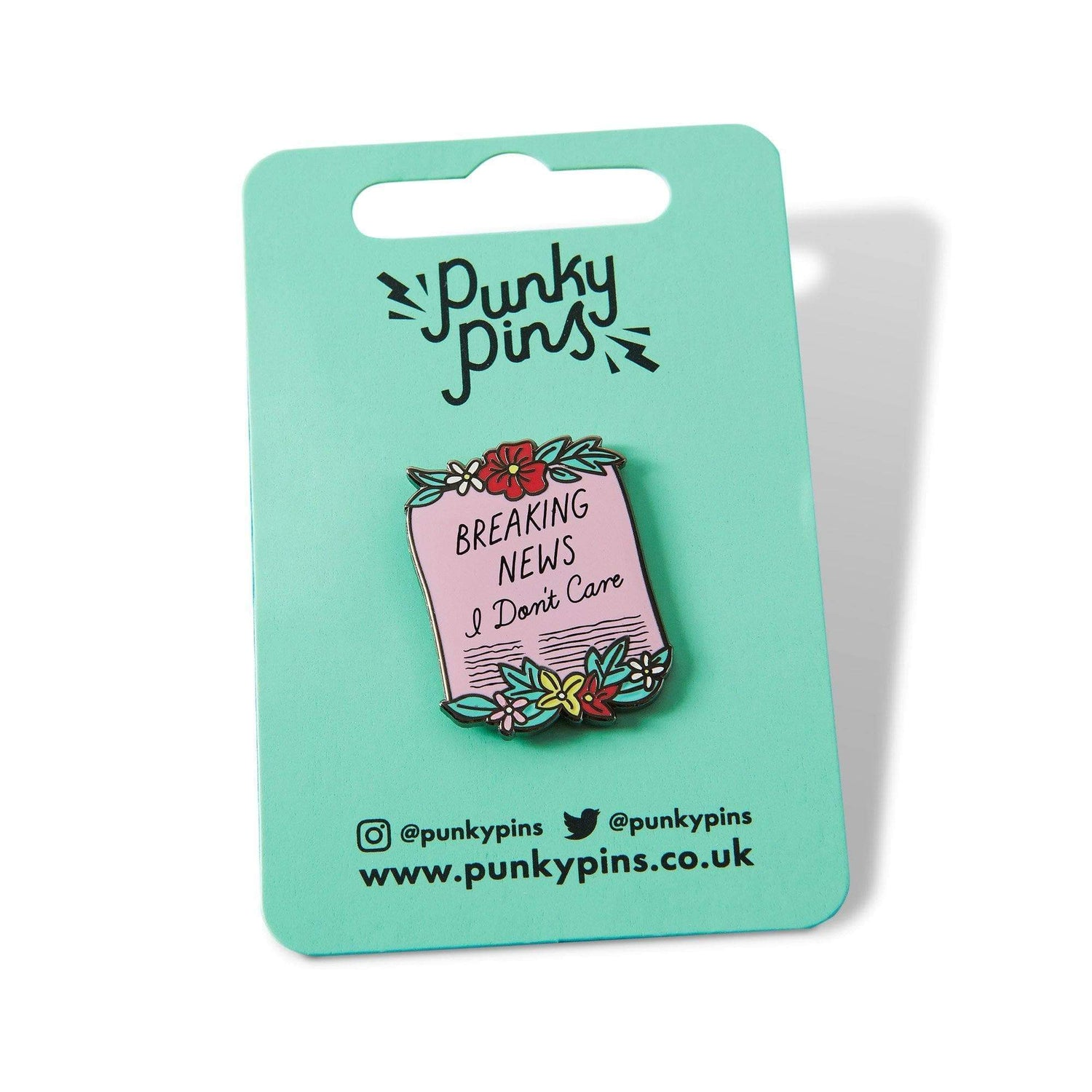 Punky Pins Breaking News I Don't Care Scroll Enamel Pin