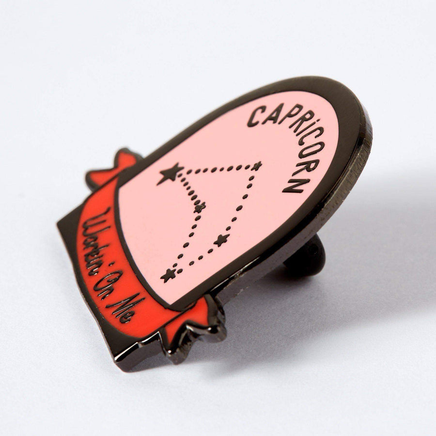 Capricorn Pink and Red Starsign Enamel Pin