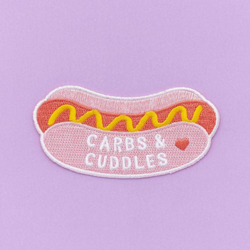 Punky Pins Carbs and Cuddles Hot Dog Embroidered Iron On Patch