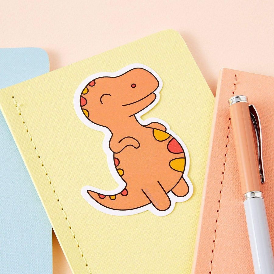 Chubby Orange Dinosaur Large Vinyl Sticker