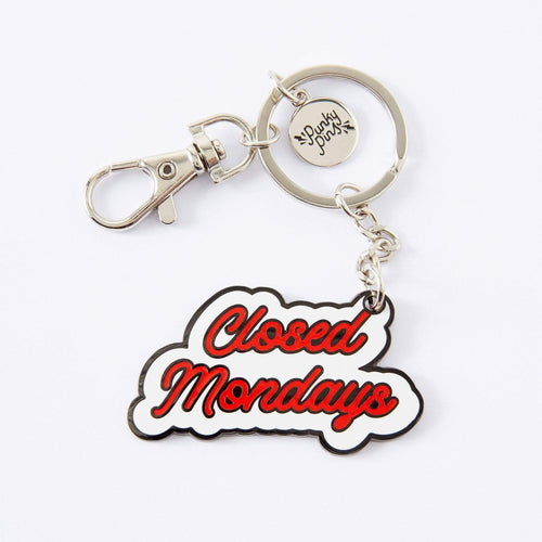 Closed Mondays Enamel Keyring