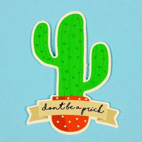 "Punky Pins ""Don't be a prick"" Cactus Die Cut Vinyl Sticker"