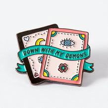 Punky Pins Down with my Demons - Tarot Cards Enamel Pin