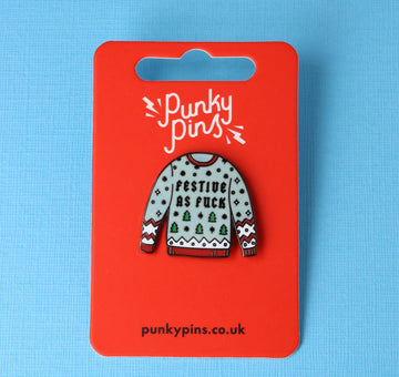 Festive as Fuck Jumper Enamel Pin