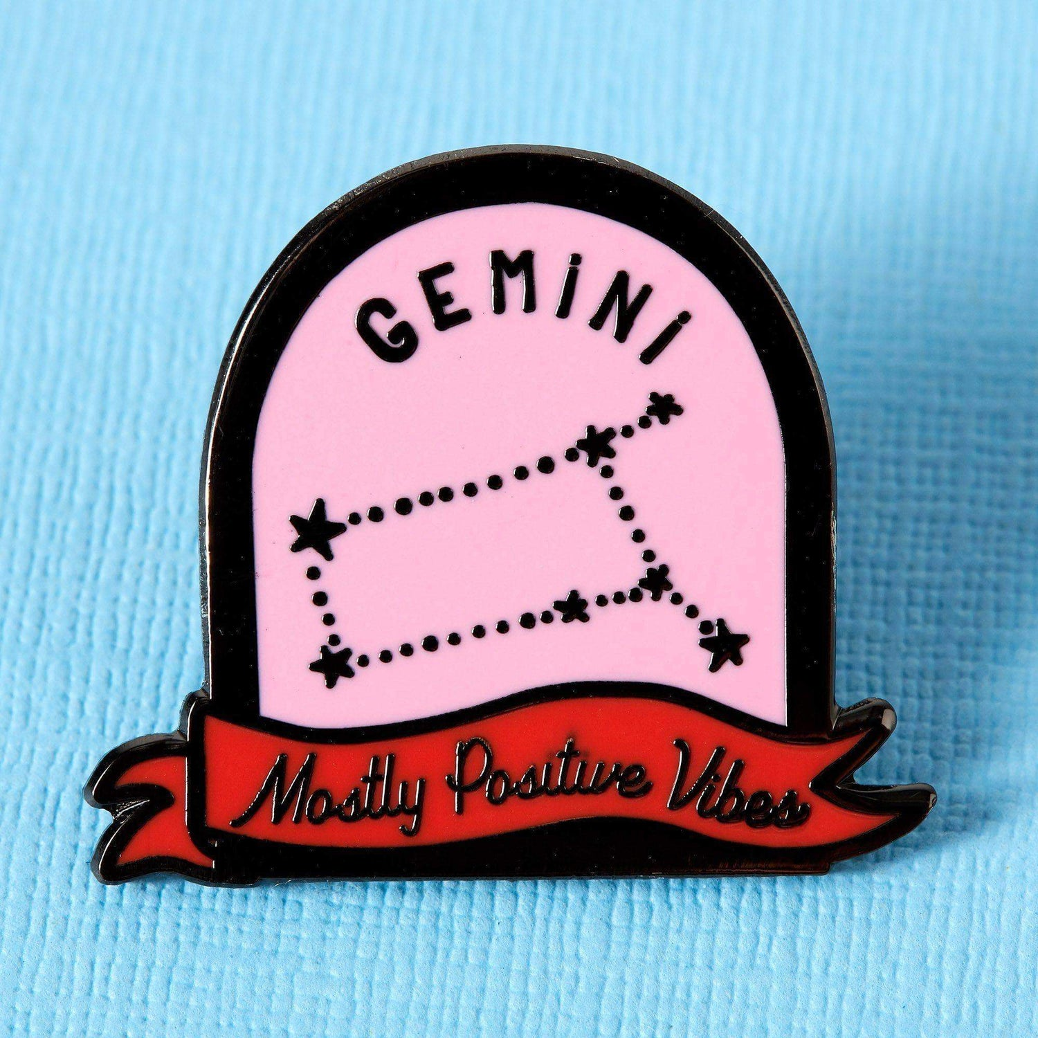 Punky Pins Gemini Pink and Red Starsign Enamel Pin