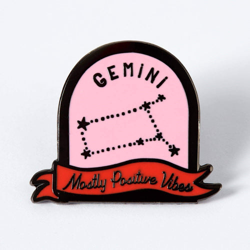 Gemini Pink and Red Starsign Enamel Pin