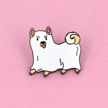 Punky Pins Ghost Dog Enamel Pin