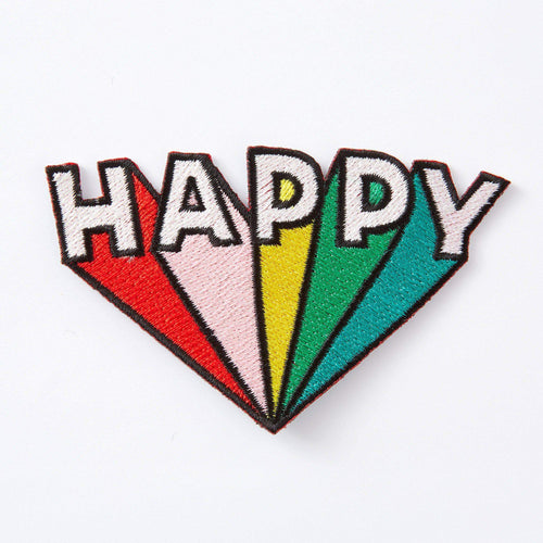 Happy Embroidered Iron On Patch