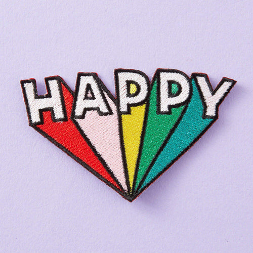 Punky Pins Happy Embroidered Iron On Patch