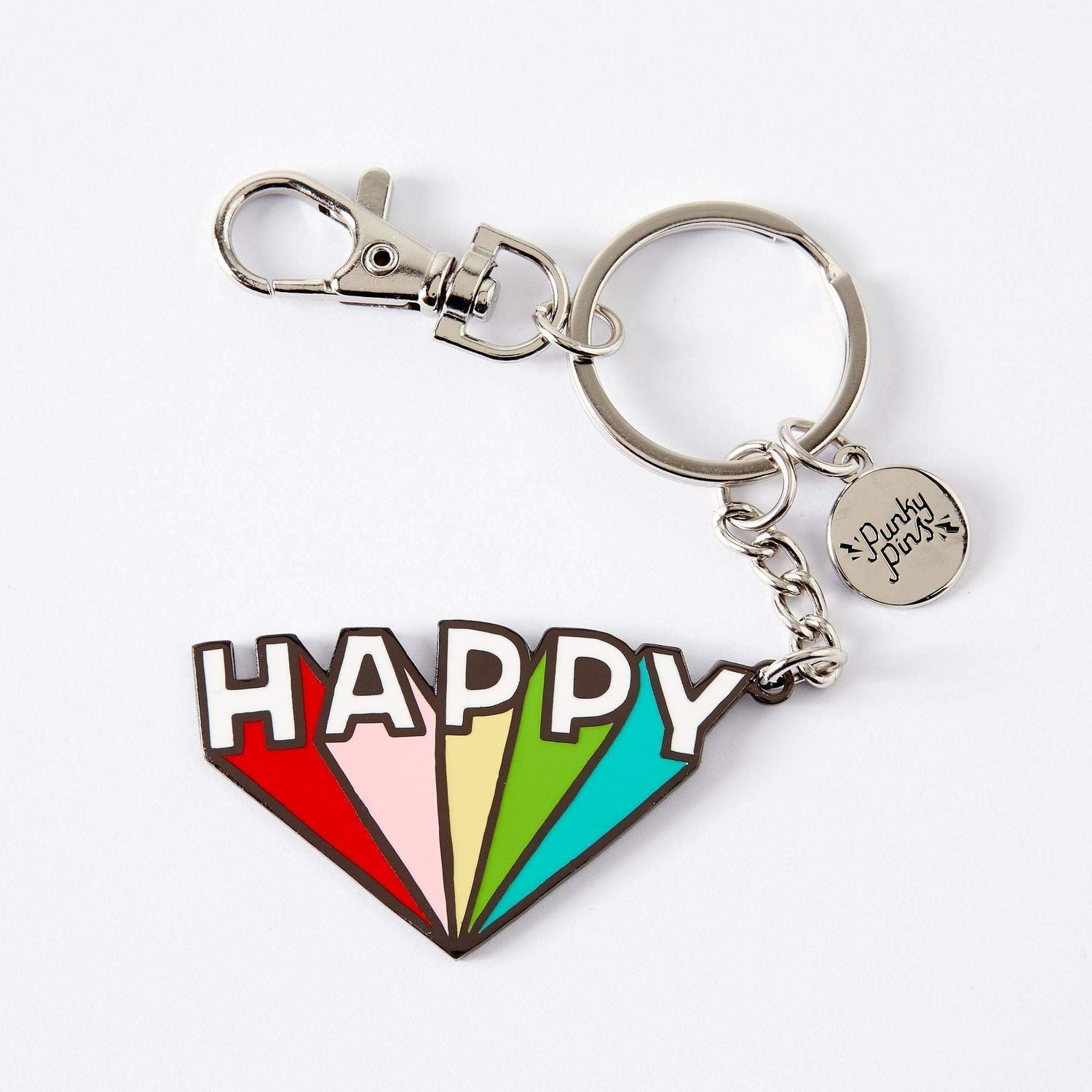 Punky Pins Happy Enamel Keyring
