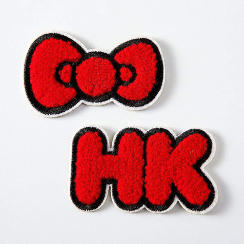 Punky Pins Hello Kitty Chenille Embroidered Iron On Patch Set
