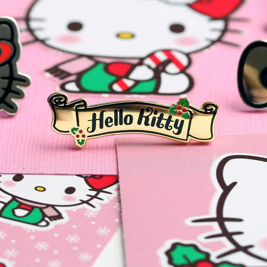 Hello Kitty Christmas Banner Enamel Pin