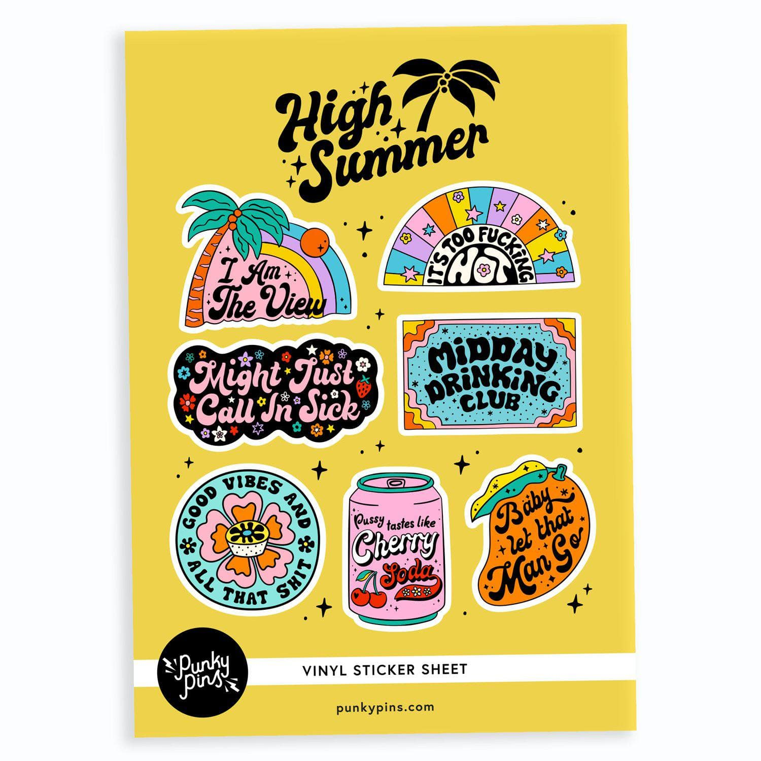 Punky Pins High Summer A5 Vinyl Sticker Sheet